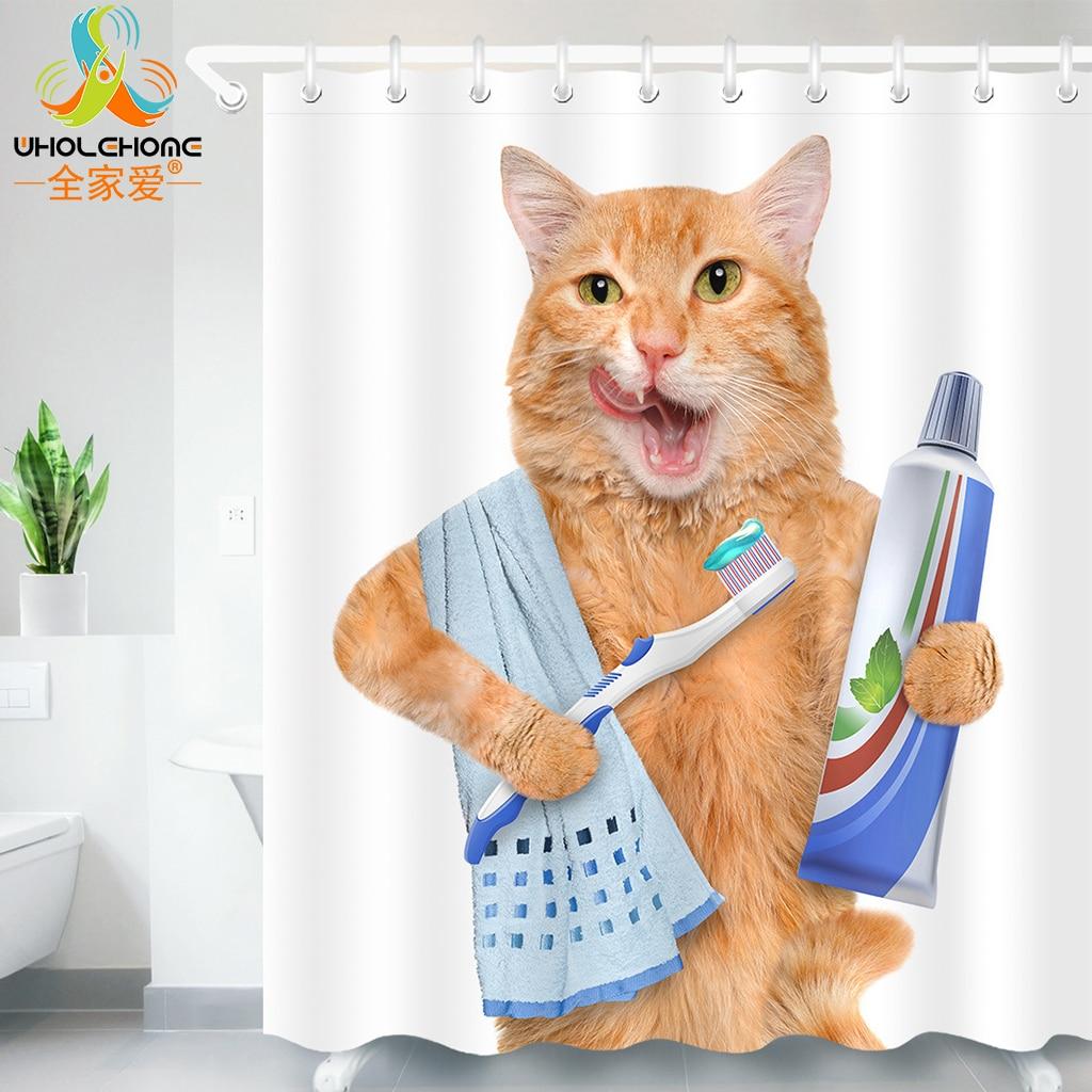 Cortina de ducha con estampado 3D de gato bonito, cortina para el baño impermeable con tejido de poliéster para decoración de cortinas de baño con 12 ganchos 60*40 estera