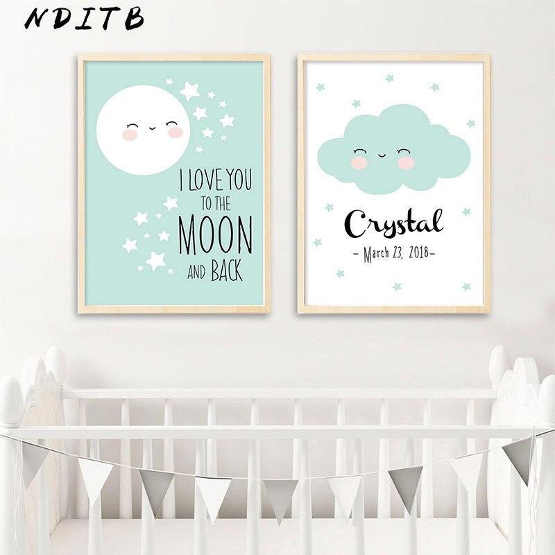Custom Poster Birth Stats Wall Art Canvas Print Cartoon Nursery Painting Nordic Kids Decoration Picture Baby Bedroom Decor