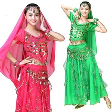 4pieces Adult Bellydance Costumes for Women Indian Belly Dance Costume Suit Stage Performance 4pcs s
