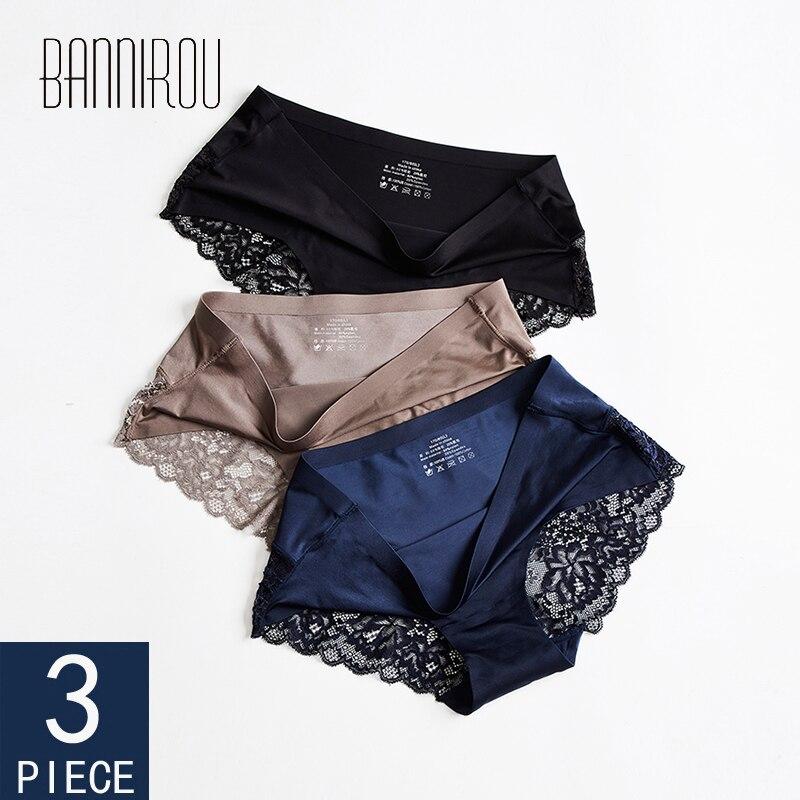 3 pçs sem costura calcinha para a mulher cueca sexy renda briefs sólido feminino pantyhot venda cueca feminina sexy rendas M-XXL bannirou