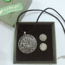 CHENGXUN Set Jewelry Viking Necklace for Men Unisex Punk Long Chain North Slavic Wolf Pendant Necklace Vintage Set Gift