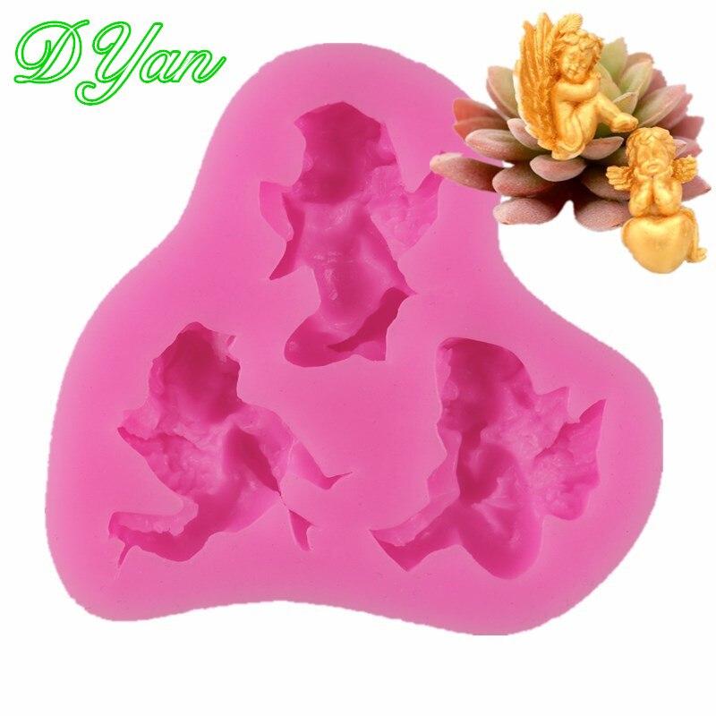 3 molde de silicona líquida con forma de ángel pequeño molde de Fondant para decoración de pasteles herramientas de Chocolate para cocinar DIY A1837