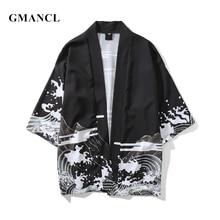 GMANCL New Men Streetwear Dragon Printed Japanese Style Cardigan Kimono Jackets Autumn Fashion Hip Hop Male Casual Outerwear