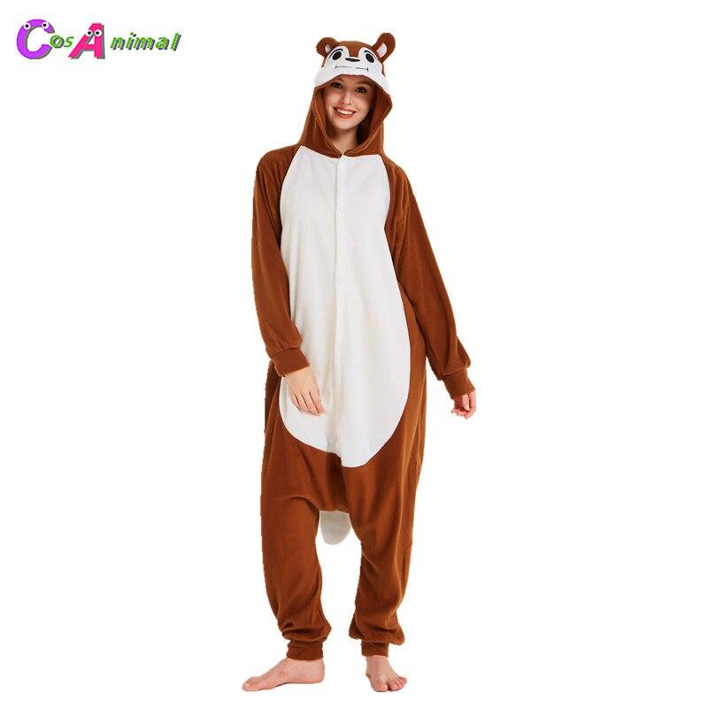 Café ardilla adultos Polar Kigurumi mujeres y hombres dibujos animados Animal Onesies pijama para Halloween carnaval fiesta