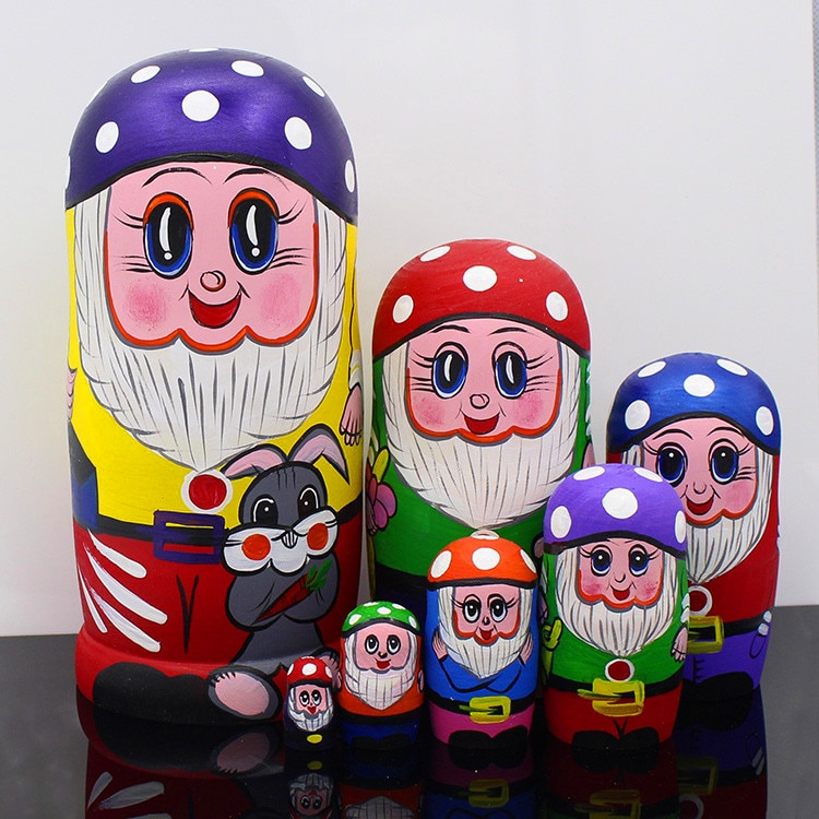 7 unids/set muñecas rusas de madera anidadas muñecas matrioshka tradicionales de dibujos animados estado Claus estilo regalo de muñecas de Navidad