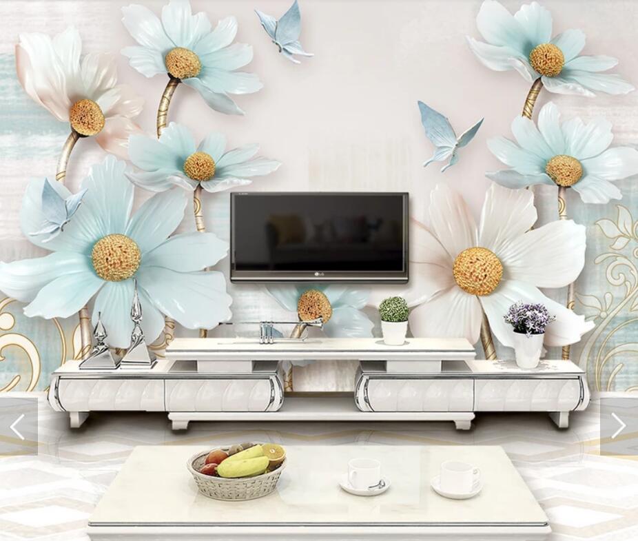 3D 8D en relieve flor pared Mural foto papel de pared para sala de fondo de papel de pared a casa decoración Floral arte de pared murales
