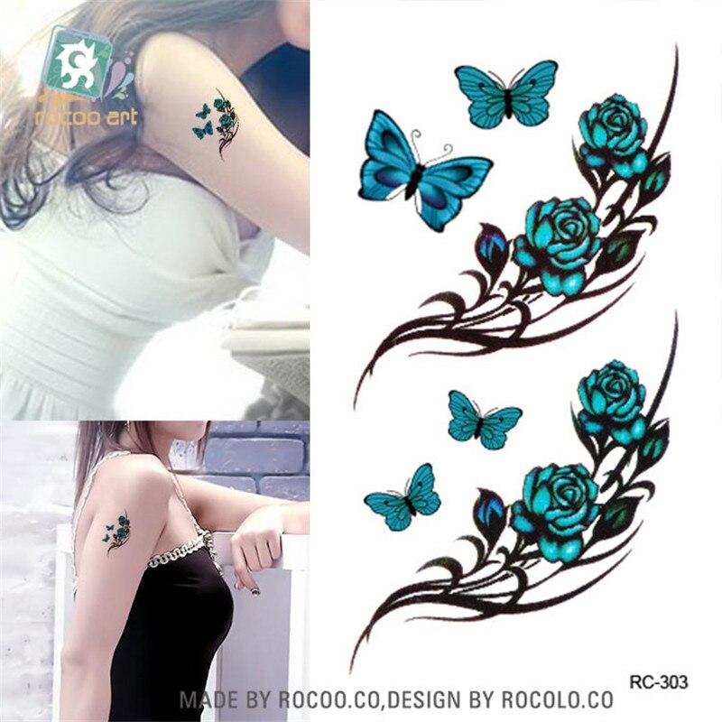 Papel de tatuajes temporal de arte corporal a prueba de agua para hombres y mujeres, diseño 3d de mariposa bonita, tatuaje de brazo pequeño, pegatina RC2303