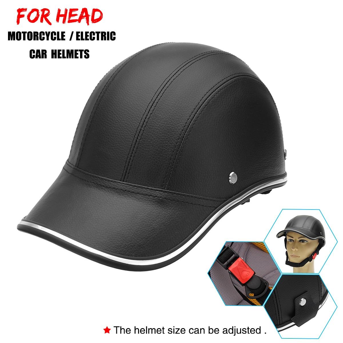 Cascos de cuero para motocicleta, moto, Scooter, semiabiertas, casco protector de cara, casco duro de seguridad, Unisex, casco para corredor, estilo de gorra de béisbol