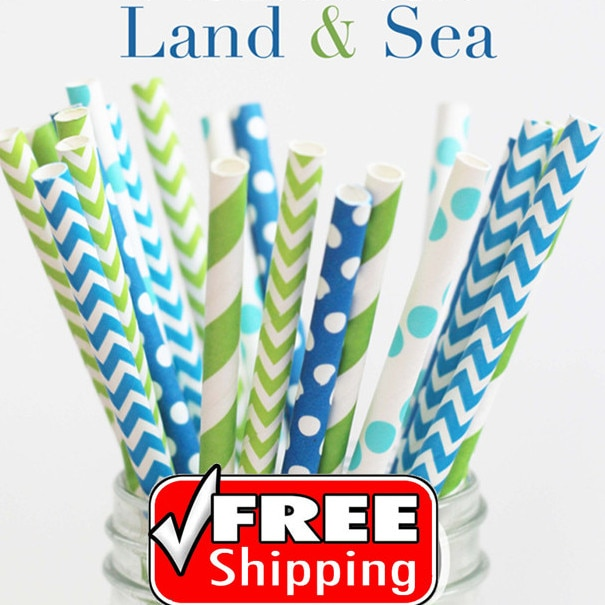 250 unids mezclado 5 diseños tierra y mar papel Pajitas, azul, verde lima, Aqua rayado, chevron, Polka Dot party supplies Decoración