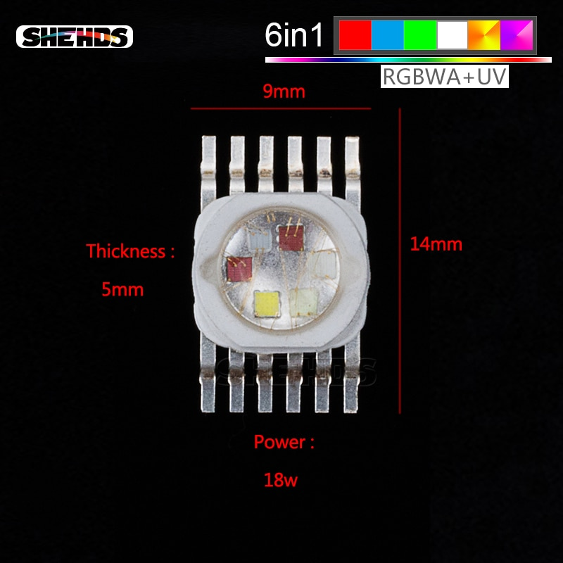 Chips de iluminación LED RGBWA + UV LED rojo/Verde/azul/blanco/Abmer/ultravioleta para efectos de iluminación de escenario Par 64 luces de escenario LED Chips