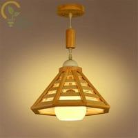 Single Head Solid Wood Pendant Lamps Personality Countryside Living Room Restaurant Pendant Lights Minimalism Study Lighting