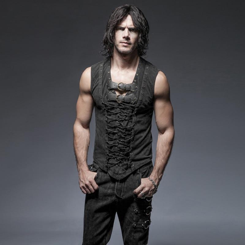 Steampunk سترة دون أكمام قمصان رجالي عادية سليم صالح ضمادة الصليب قابل للتعديل شريط مرن أكمام تانك القمم الرجال