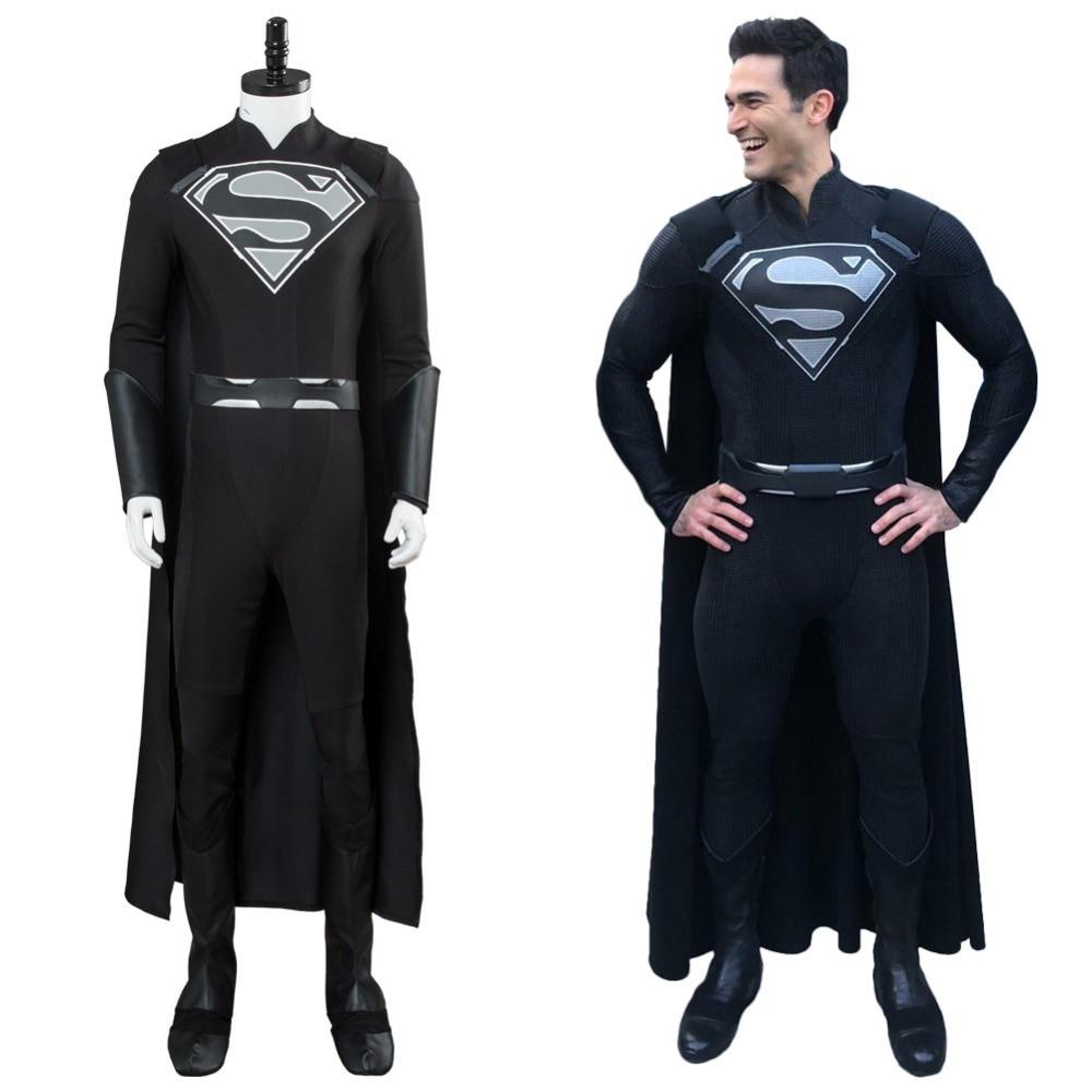 Super-homem supergirl the arrowverse traje cosplay elseworlds crossover preto terno feminino halloween carnaval