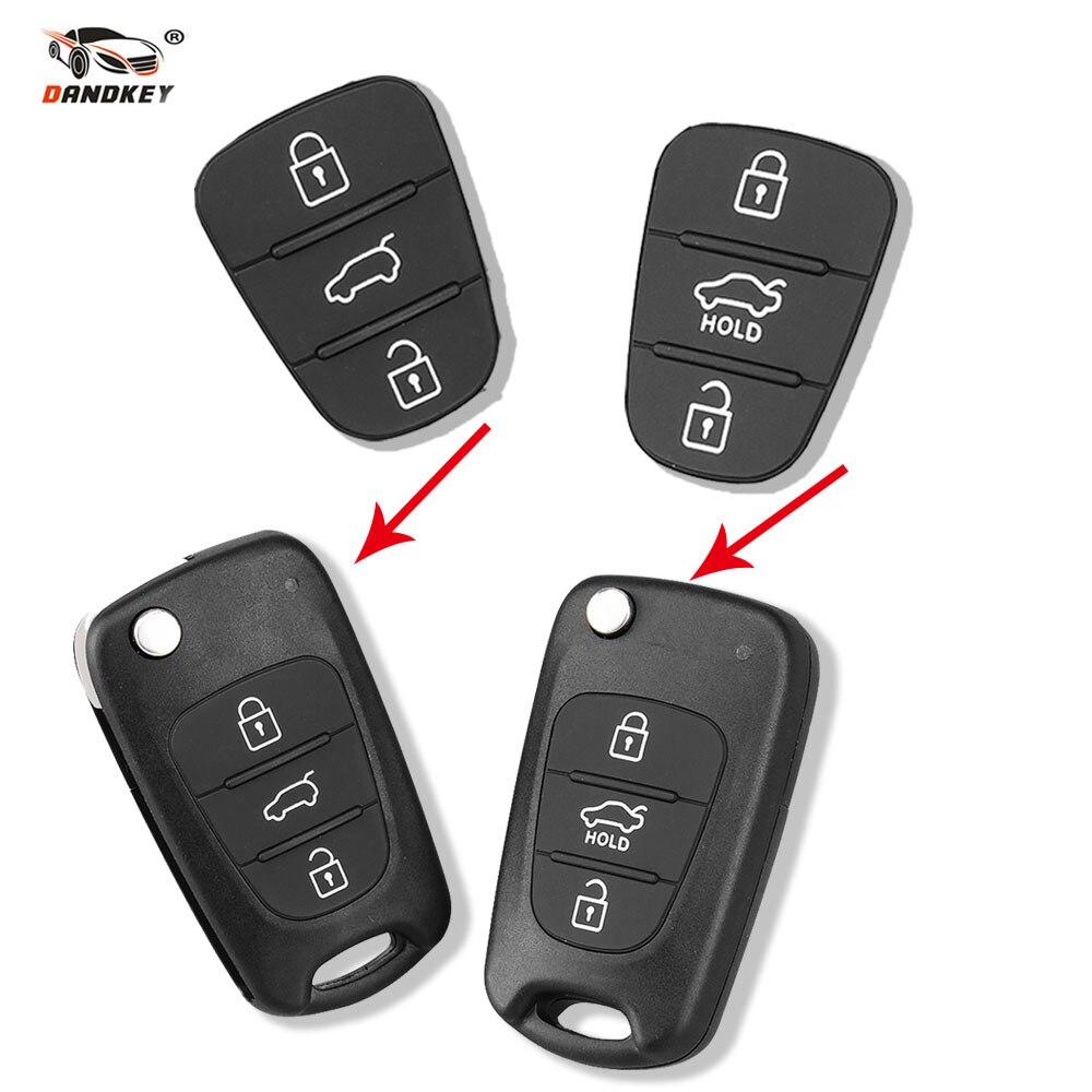 Dandkey 3 botones funda para mando a distancia almohadilla de goma para Hyundai I10 I20 I30 IX35 para Kia K2 K5 Rio Sportage Flip Key