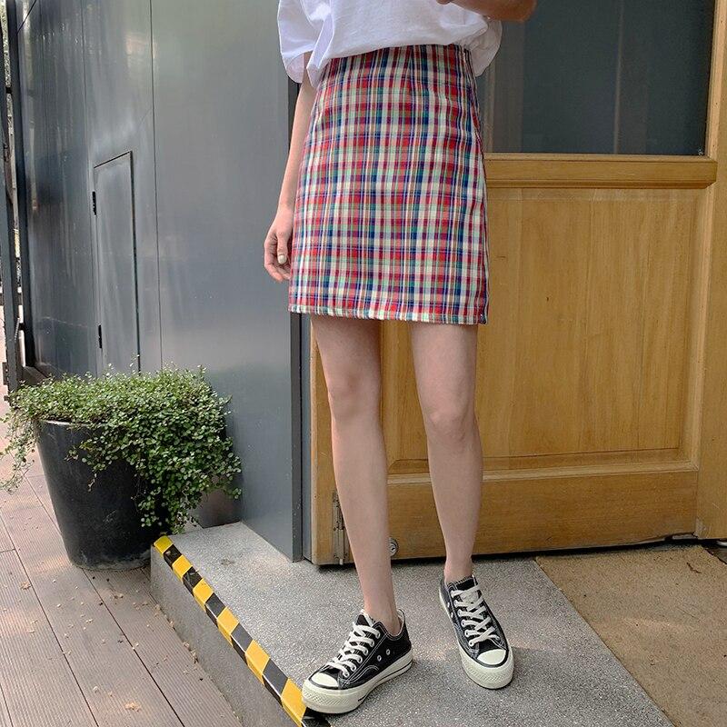 Las mujeres faldas de verano hermoso Kawaii dulce chica cintura alta ajustado Retro de una línea Falda Mujer coreanos para chica Ins botón para las mujeres