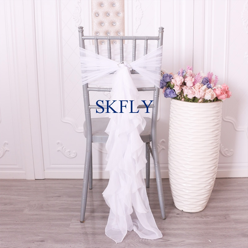 CH101A, venta al por mayor, envío gratis, barato, blanco, sauce rizado, gasa, volantes, funda para silla de boda o marco de silla con hebilla