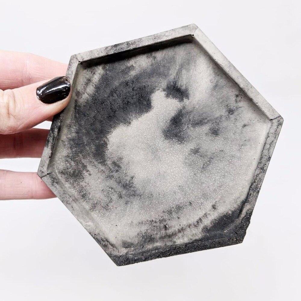 Molde de silicona para posavasos hexagonales, bandeja de concreto, molde para candelabro, molde para tartas de concreto