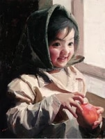 canvas prints home decal portrait pictures modern art china impression portrait of chinese countryside girl with apple