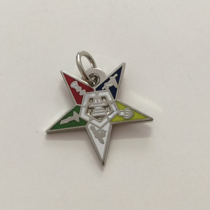 """100pcs Factory Wholesale Freemasonry Custom Masonic Pendant Charm Jewelry 3/4"""" Masonic Mason Chapter Eastern Star OES Charms"""