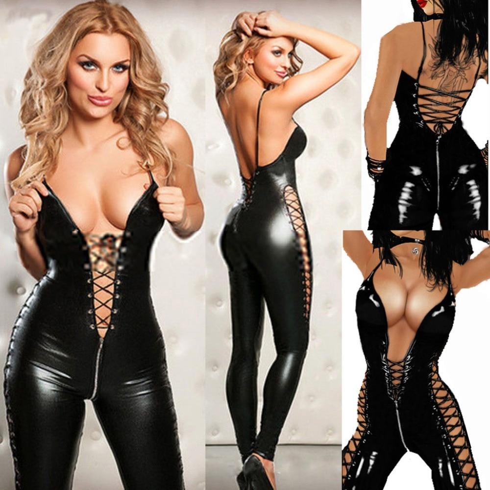 Lingerie Sexy Hot Mulheres Prisioneiros Encanto Selvagem Pu Leather Teddy Babydoll Erotic Lenceria Sexy Clube Mini Vestido de Trajes
