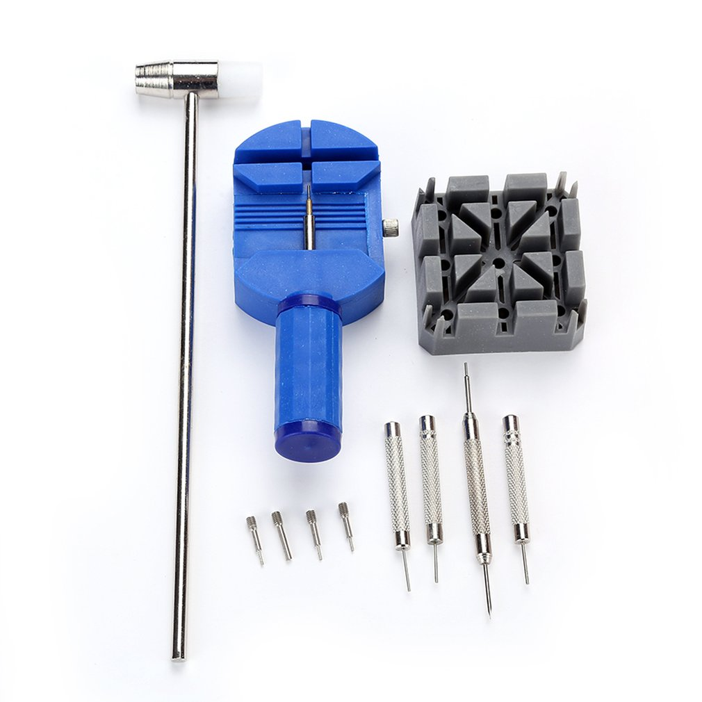 11pcs/set Watch Repairing Tools Kit Durable Watch Belt Holder Pin Punches Hammer Set Household Watch
