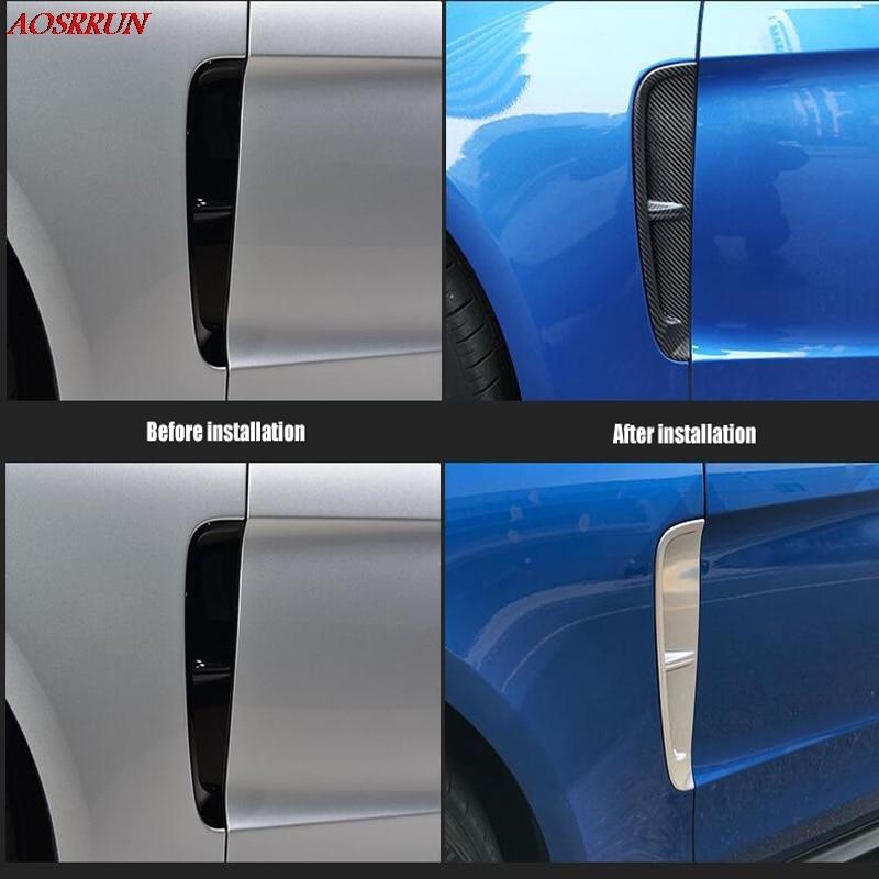 Para Porsche Panamera 971 Turbo 2017 2018 cromo fibra de carbono puerta lateral ventilación de aire guardabarros tapa de salida Trim Wing Car Styling