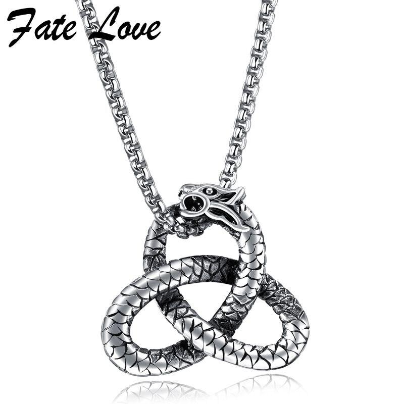 Collar de dragón chino Fate Love, joyería para hombre, collar de acero inoxidable, accesorios Vintage, colgantes geniales, collares, collar de joyería