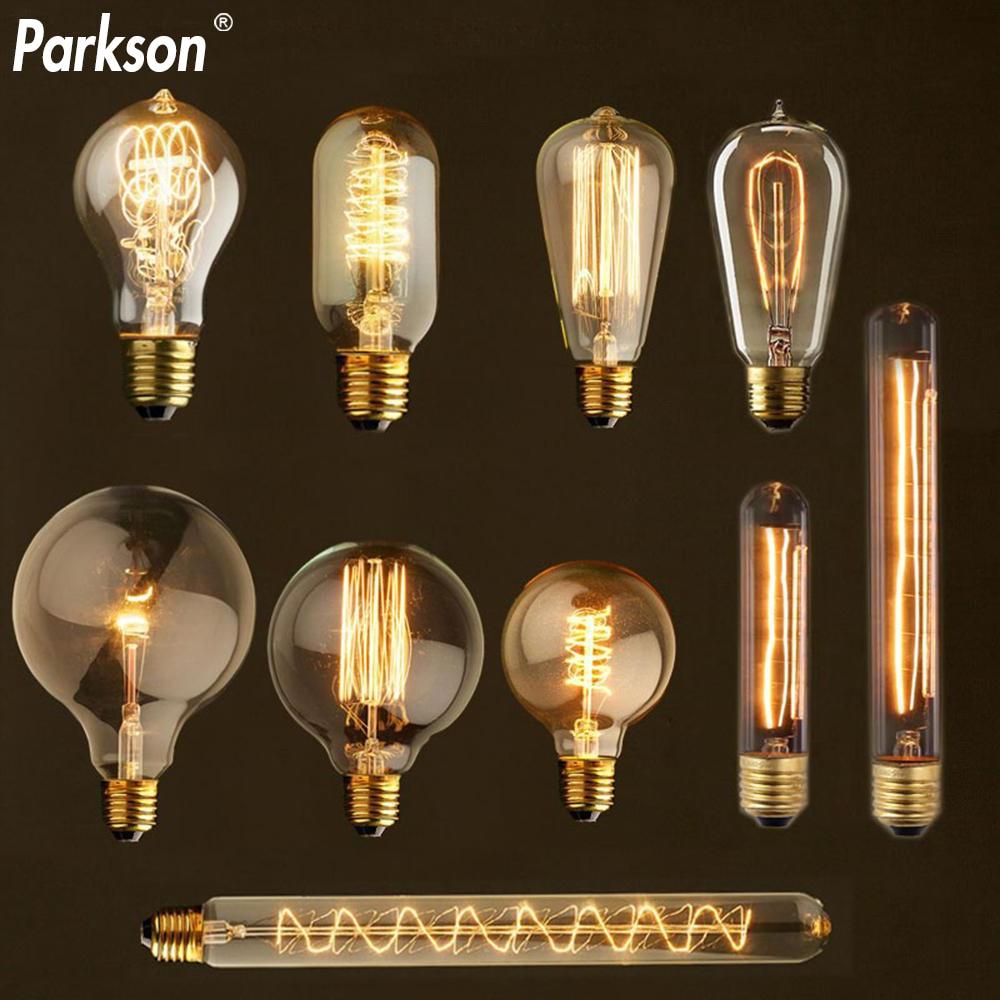 Ретро лампа Эдисона E27 40 Вт 220 В ST64 T10 T45 G80 G95 G125 Ampoule винтажная лампа Эдисона накаливания лампа накаливания для декора