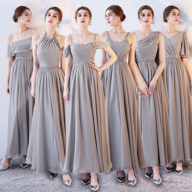Sześć styl linii długie szyfonowe suknie dla druhen eleganckie tanie szary suknia dla gościa weselnego suknia vestido de festa longo DQG365