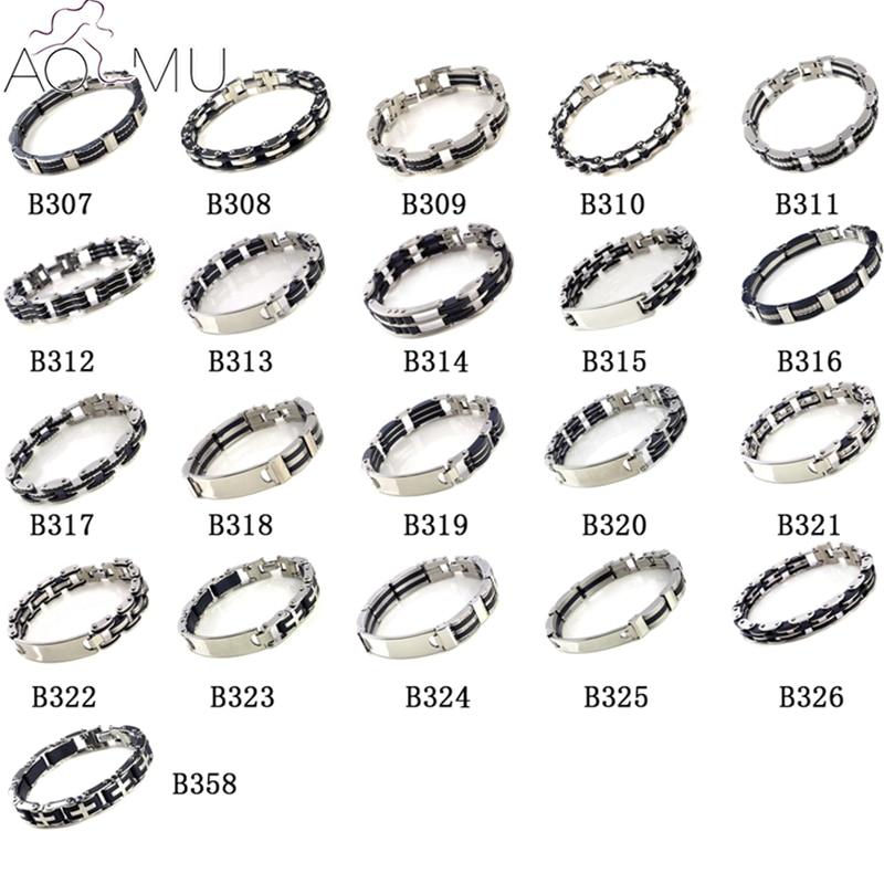 Мужские браслеты AOMU, черные силиконовые браслеты из нержавеющей стали, 2017