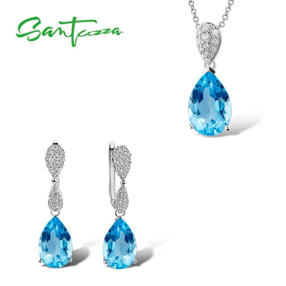 SANTUZZA набор украшений для женщин волшебный Небесно-Голубой Кристалл CZ камни висячие серьги кулон набор из стерлингового серебра 925 пробы модные ювелирные изделия