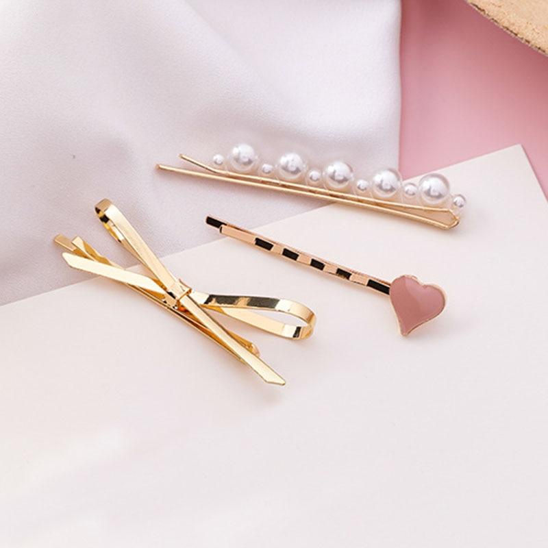 Épingles à cheveux pour filles, rose mignons en forme de cœur, en forme de nœud doré, accessoires pour cheveux pour dames, style coréen, bijoux de coiffure pour mariage