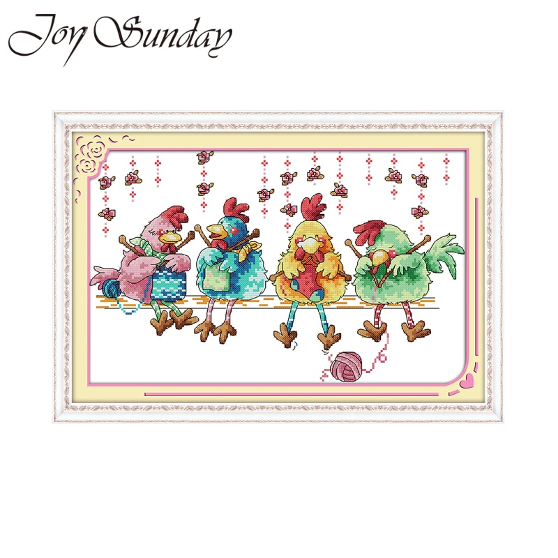 Joy Sunday chick  punto de cruz kit de dibujos animados bird pattern print lienzo puntadas de bordado diy costura hecha a mano