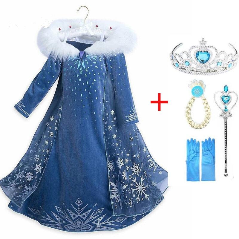 Robe elsa pour filles   Robes de carnaval, cosplay, tenue princesse reine des neiges pour enfants, nouvelle collection