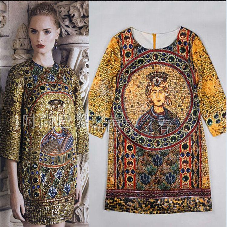 Nuevo vestido de cuentas de uñas de corte de estilo barroco estampado de alta gama de los Estados Unidos de Sicilia