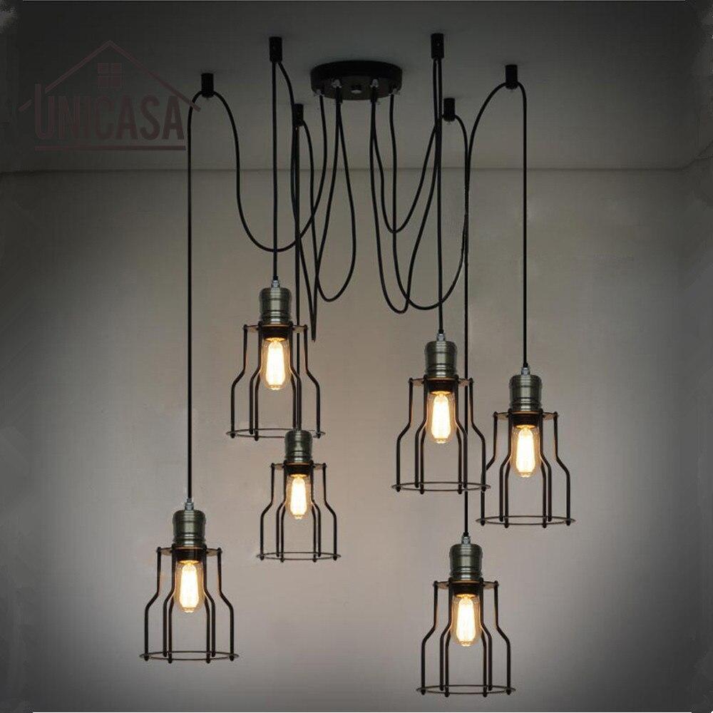 Industrial Pendant Lights Black Iron Large Lighting Bar Office Living Room Kitchen Island LED Light Antique Pendant Ceiling Lamp