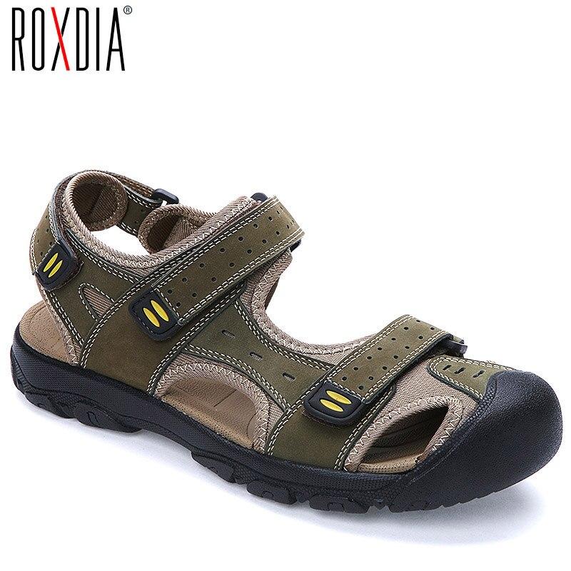 Sandalias de hombre ROXDIA de talla grande 39-47 transpirables de piel auténtica para verano y playa, sandalias informales RXM004