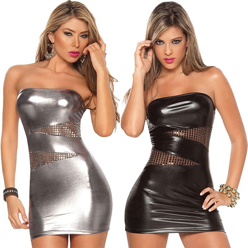 New Women Sleeveless Sexy Patent Leather Bodycon Strapless Lure Clubwear Party Stripper Mini Dress  -MX8
