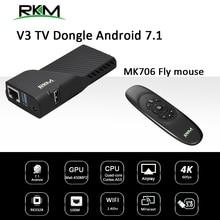 TV Box Android 7,1 RK3328 Rockchip TV Stick 2GB 16GB 2,4G WIFI 100M --- Media player & fly maus RKM V3 + MK706