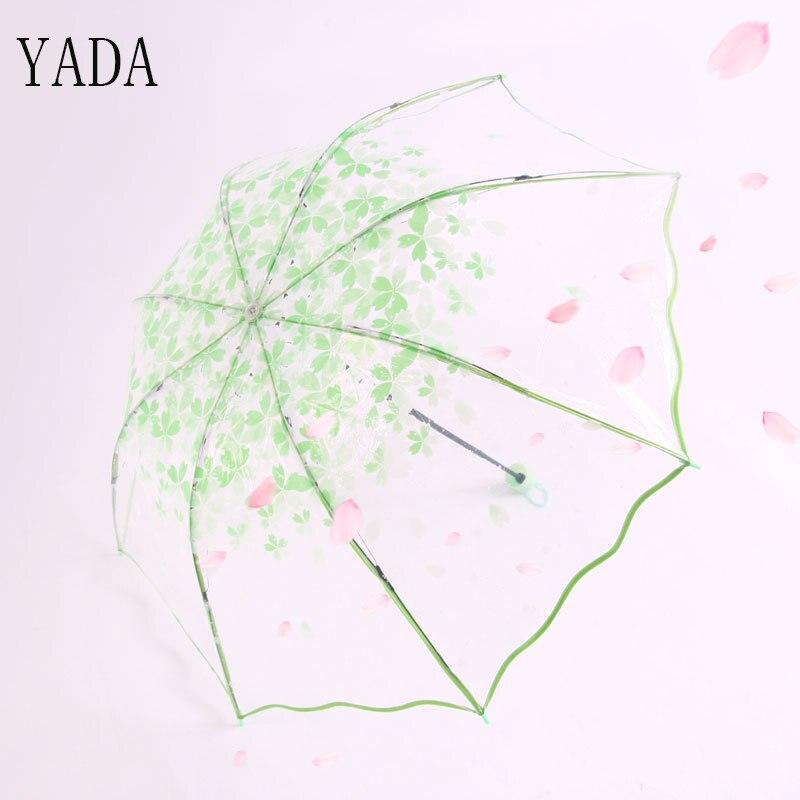 Guarda-chuva da Chuva Guarda-chuva de Proteção Ambiental para as Mulheres Chuvas à Prova de Vento Yada Peva Sakura Romântico Transparente Mulheres Ys234