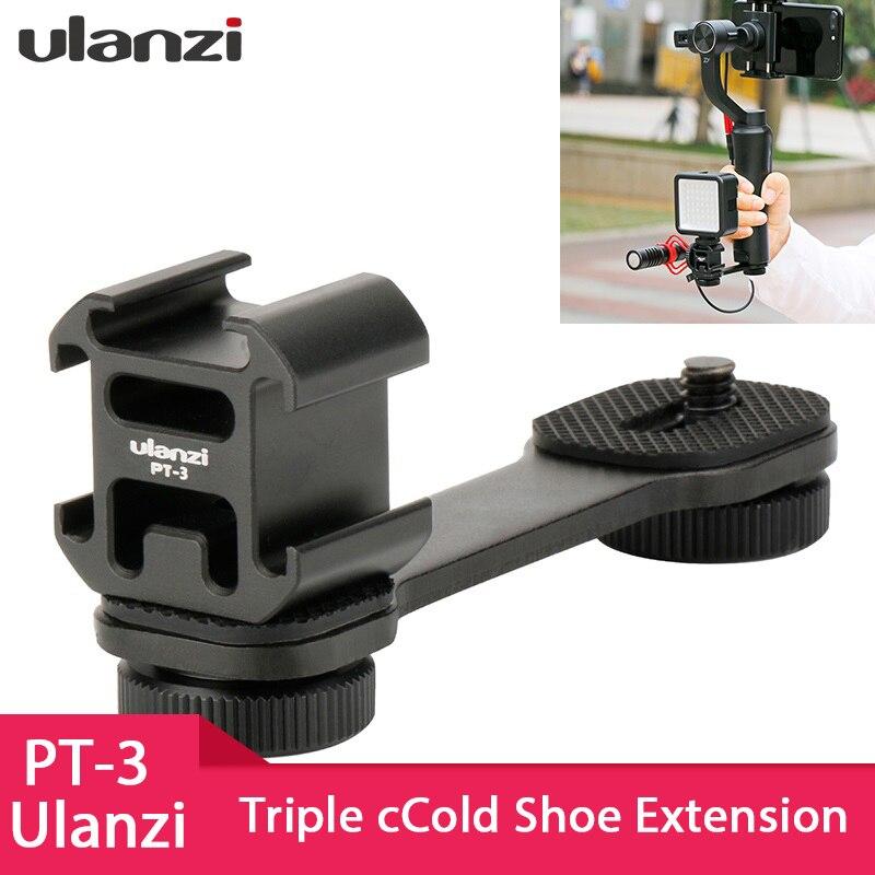 Ulanzi PT-3 Triple Heißer Schuh Mount Adapter Mikrofon Verlängerung Bar für Zhiyun Glatte 4 DJI Osmo Tasche Gimbal Zubehör