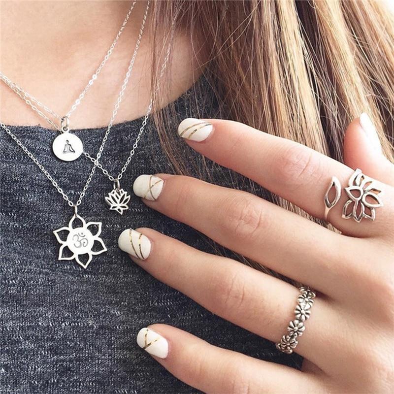3 Pcs / Set  Boho Buddha Lotus Yoga Om Symbol Chain Pendant Necklace Women Fashion Collar Necklace Charm Clothing Accessories