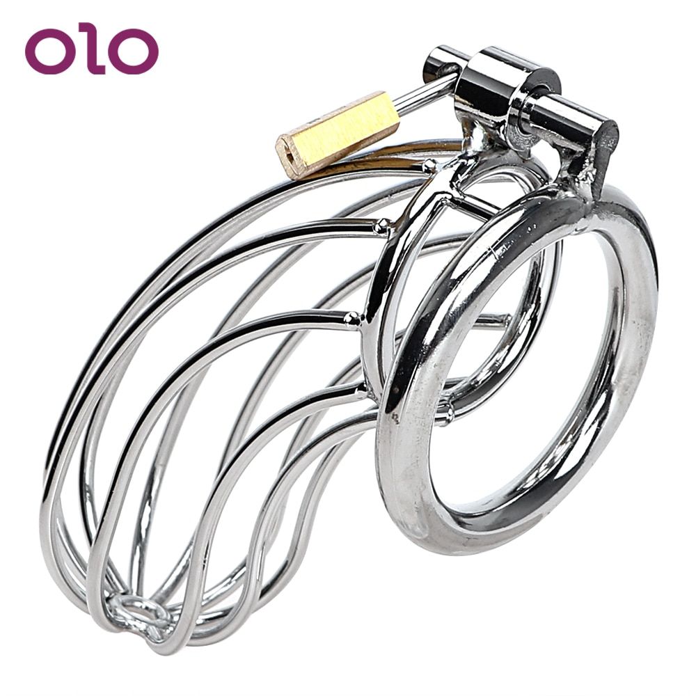 OLO Adult Games Stainless Steel Cock Cage Lockable Sex Toys for Men Penis Cock Ring Sleeve Lock Male Chastity Device gay chastity device cock cage 5 size rings sex products for men brass lock number tags sex toys cock ring male chastity belt