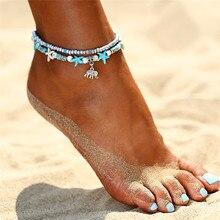 branzoletka bransoletki bransoletka na kostke noge nogę foot ankle leg bracelet Żółw morski rozgwiazda plaża powłoki nogi Anklet kostki bransoletki bransoletka dla kobiet boho boso sandały bransoletki moda biżuteria