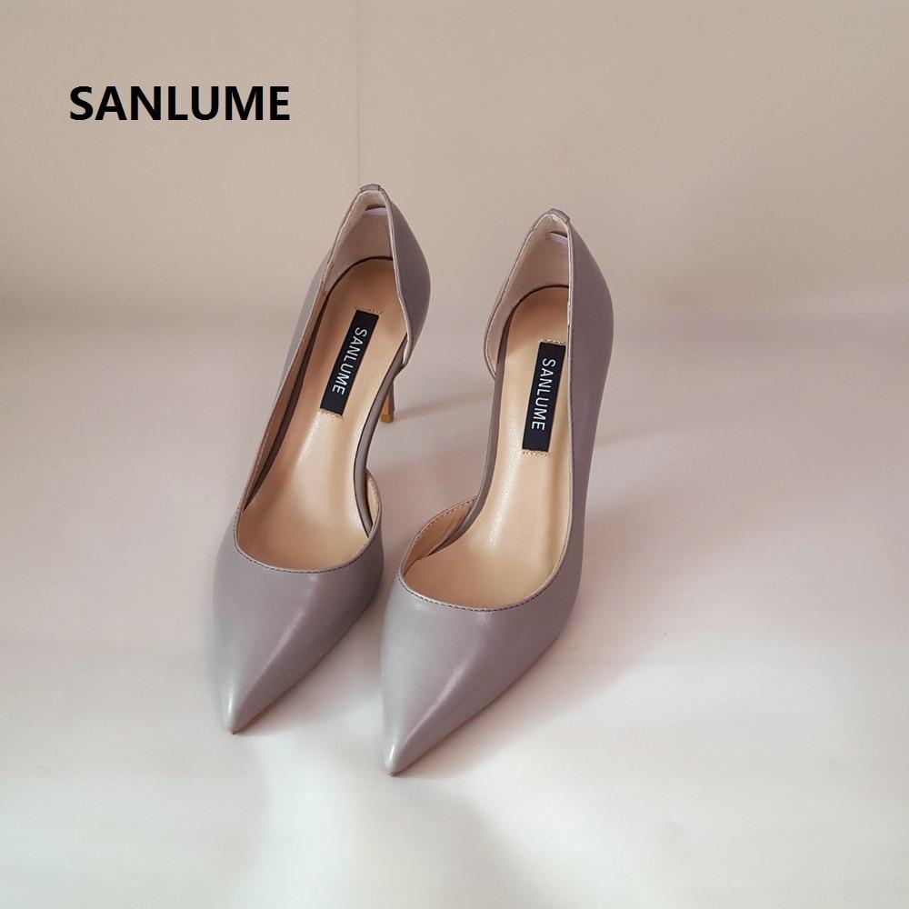 AliExpress - SANLUME Women Sexy Genuine leather High heels Basic Model Pumps Lady Pointed Toe Nude Wedding shoes inside sheepskin