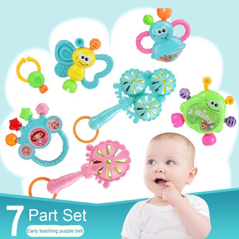 7 Pcs/Set Plastic Hand Jingle Shaking Bell Rattles Toys Newborn Teether Baby Toy Rattles Toys For Children Newborns Rattles