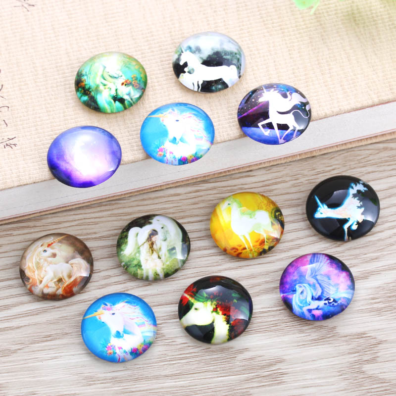 TYLFNL 12mm 25mm Handmade Photo Glass Cabochons Licorne Pattern Domed Round Jewelry Accessories Supplies for Jewelry S-010307 2020 hot sale new fashion 5pcs lot 25mm handmade photo glass cabochons