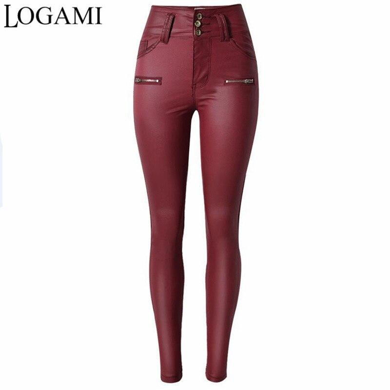 LOGAMI Dünne Pu Leder Hosen für Frauen hohe Taille Schlank Faux Leder Hosen Kleidung Hosen Herbst Wein Rot