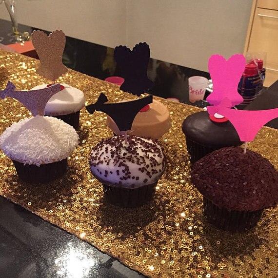 Rosa negro plata corsé y bragas Cupcake Toppers comida Picks despedida de soltera Boda nupcial compromiso Lencería fiesta