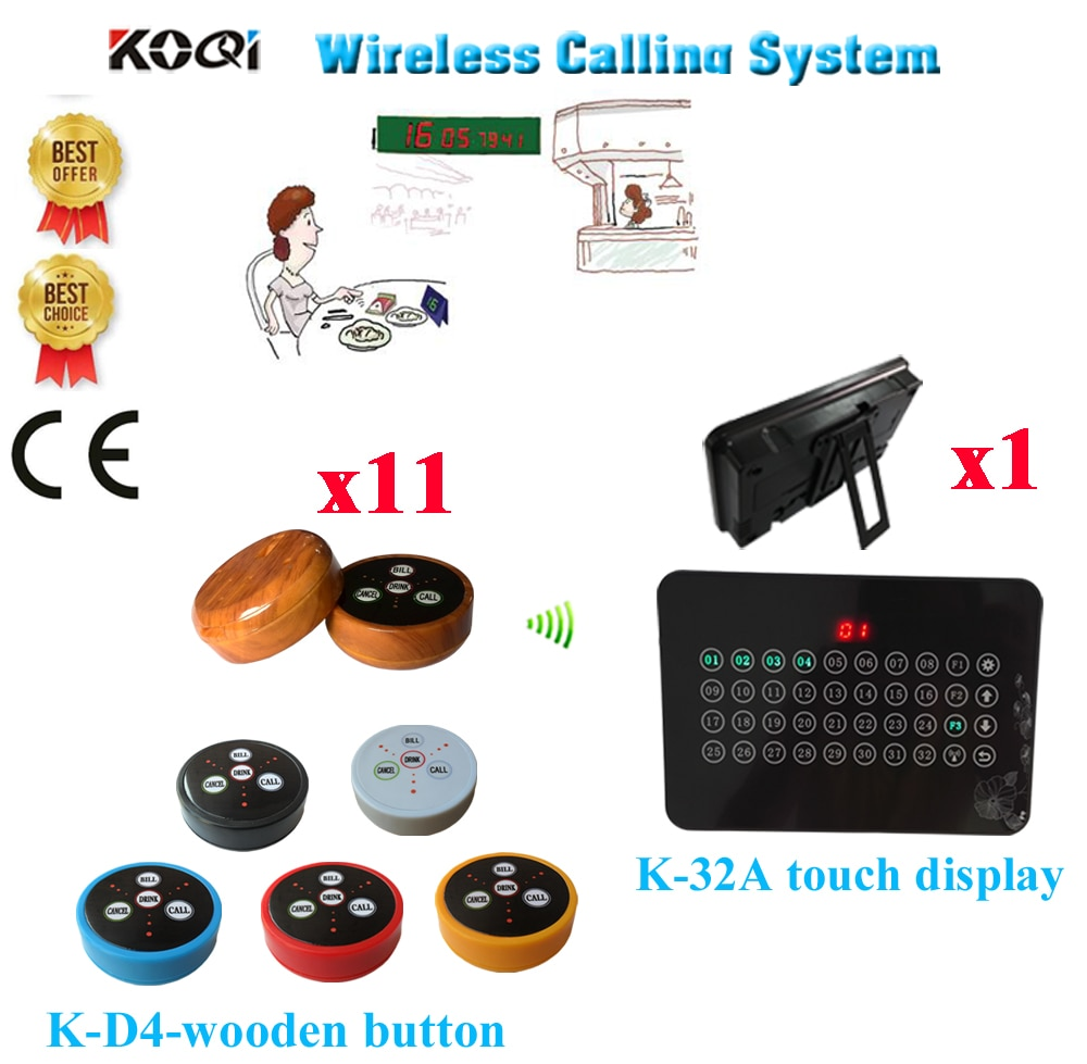 Call Buzzer Bell System Best Discount Price Of Wireless Service Call Bell Pager Restaurant CE Passed(1 display+11 call button)